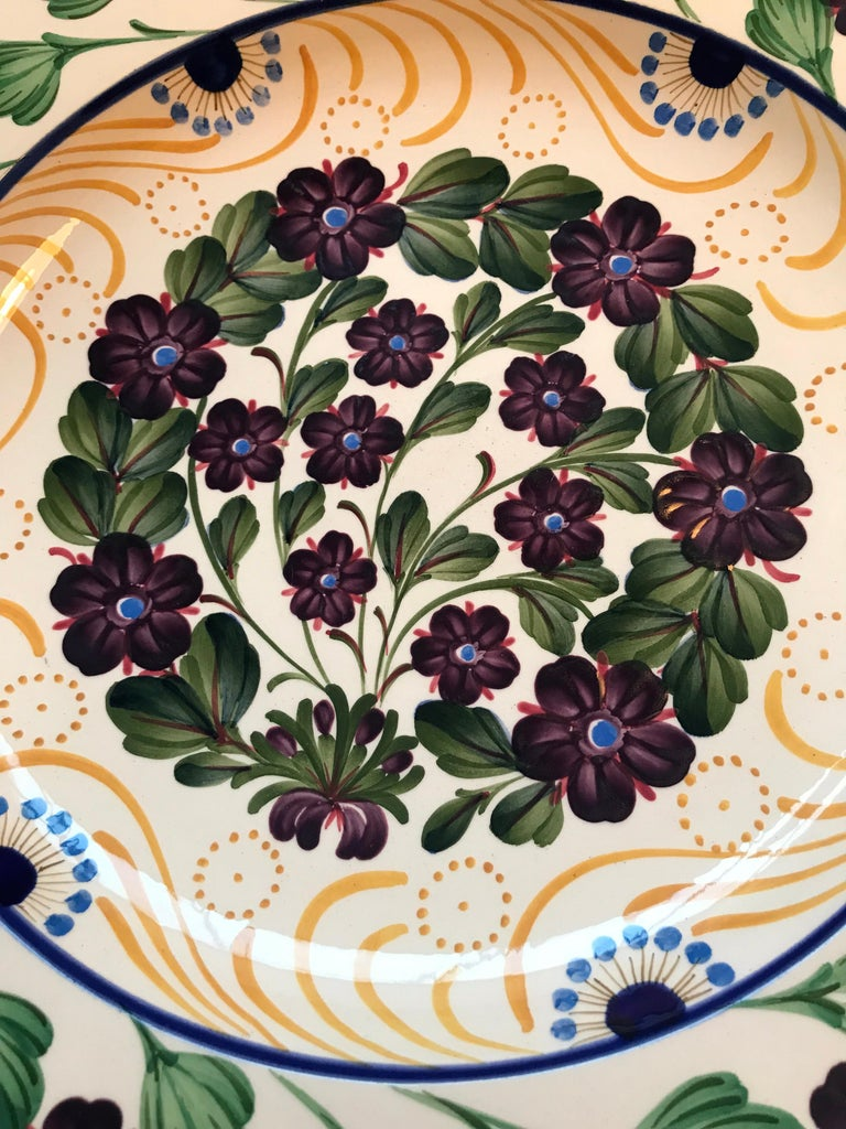 "Large and rare 18"" antique bowl platter by Aluminia of Copenhagen from circa 1910 Gorgeous hand painted floral Anemone design Vibrant colors and a beautiful piece of faience that can change a room Two hair line cracks 2 inches long from the edge"