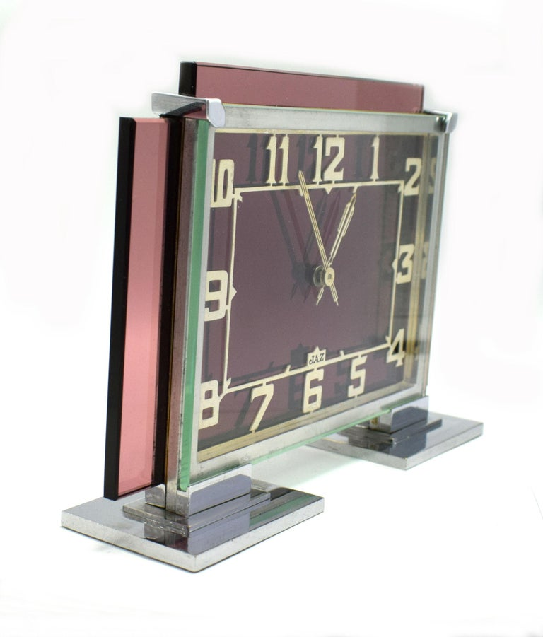 Beveled Rare 1930s Art Deco French Pink Glass Mantle Clock by Jaz For Sale