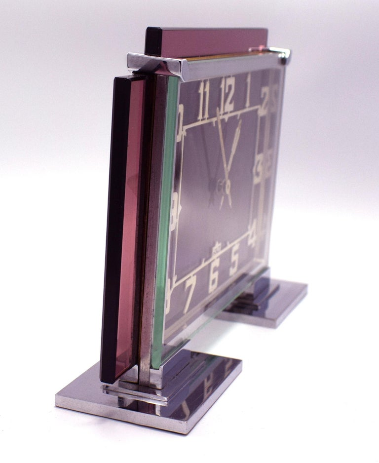 Rare 1930s Art Deco French Pink Glass Mantle Clock by Jaz In Good Condition For Sale In Devon, England