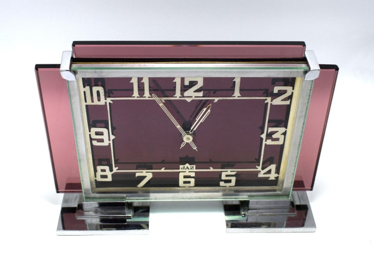 Rare 1930s Art Deco French Pink Glass Mantle Clock by Jaz For Sale 2