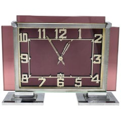 Rare 1930s Art Deco French Pink Glass Mantle Clock by Jaz