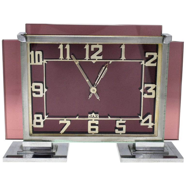 Rare 1930s Art Deco French Pink Glass Mantle Clock by Jaz For Sale