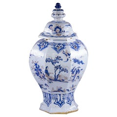 Large and Rare French Faience Chinoiserie Covered Temple Jar, Nevers, circa 1740