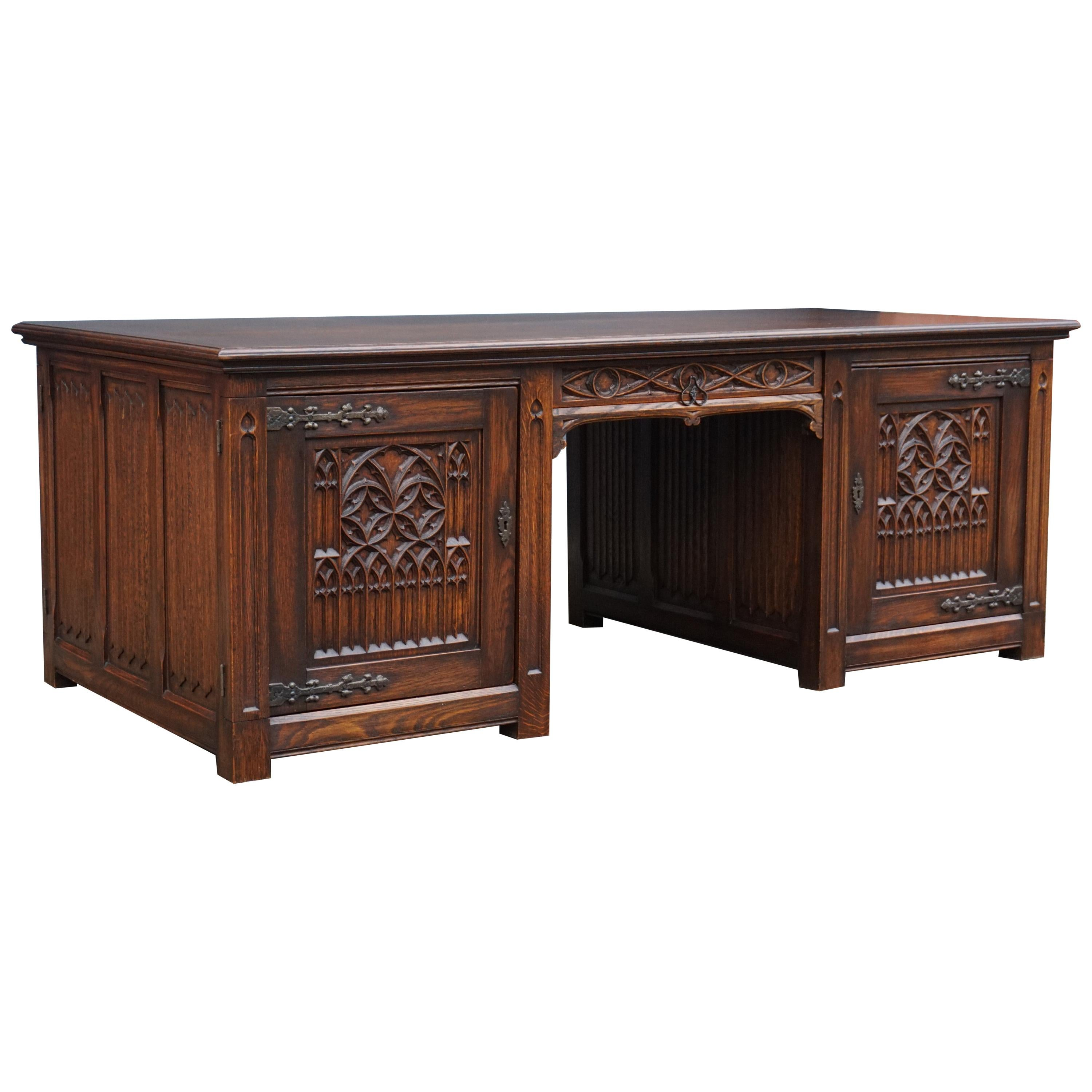 Large and Rare, Hand Carved Antique Gothic Revival Oak Partners Desk, circa 1920