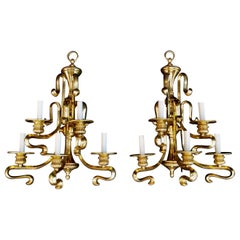 Large and Rare Solid Brass Sconces