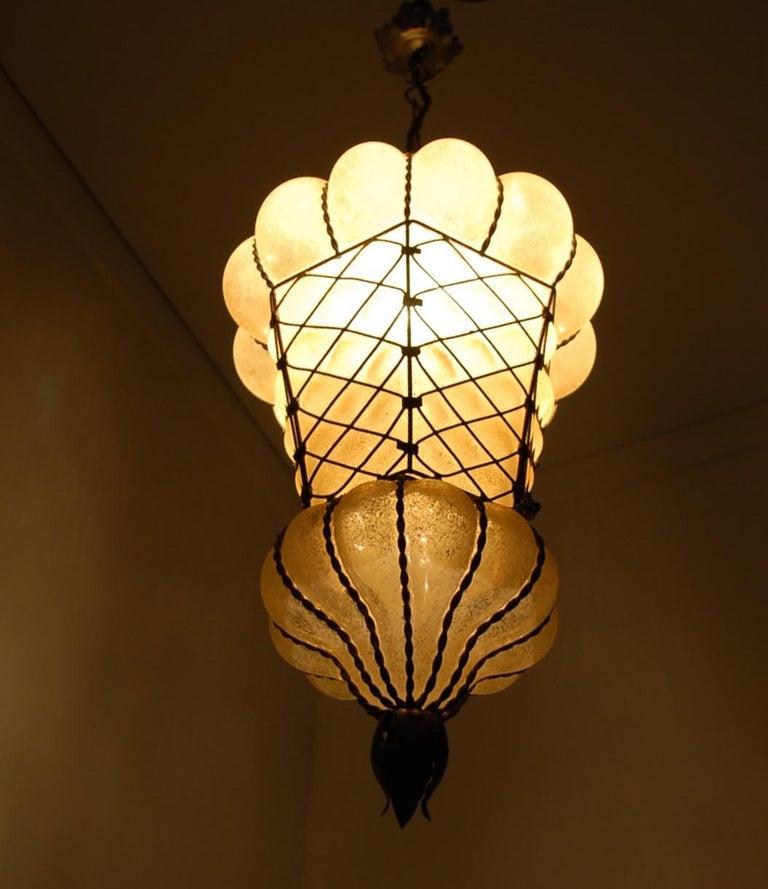 Rare Shape Venetian Murano Pendant Light Mouthblown Amber Glass in Frame For Sale 11