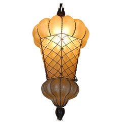 Rare Shape Venetian Murano Pendant Light Mouthblown Amber Glass in Frame