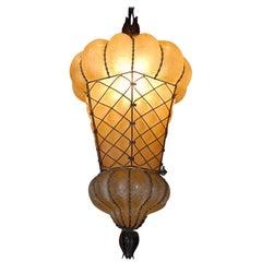 Rare Shape Venetian Murano Pendant Light Mouthblown Amber Glass in Frame