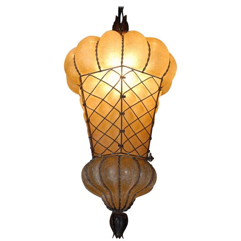 Rare Shape Venetian Murano Pendant Light Mouthblown Amber Glass in Frame For Sale