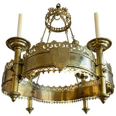 Large and Striking Bronze & Brass Gothic Revival Advent Wreath Candle Chandelier