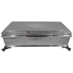 Large and Striking English Art Deco Modern Sterling Silver Casket Box