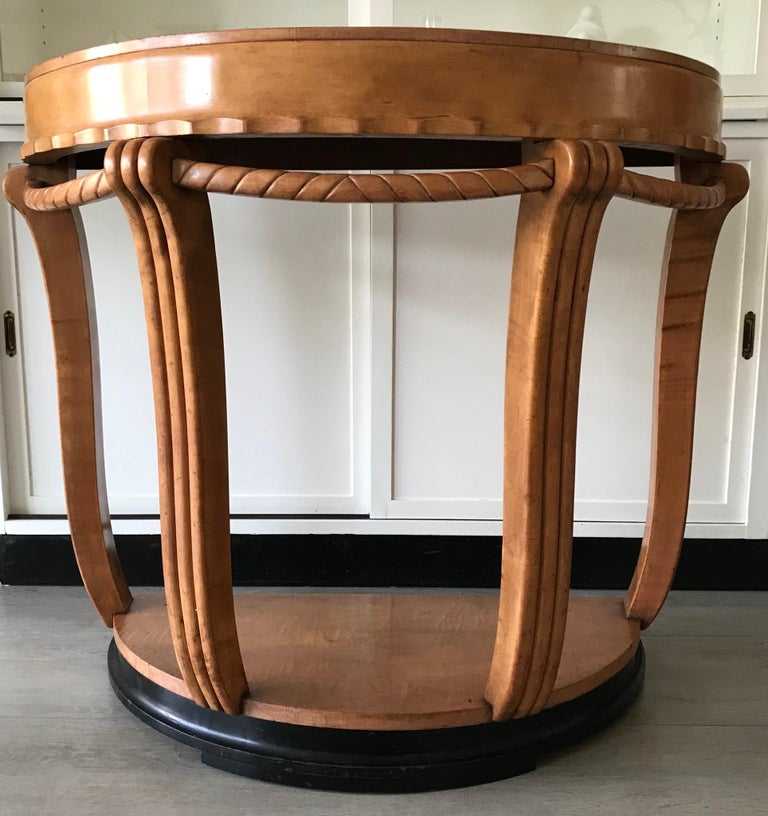 Large & Stylish Semi Circular Art Deco Wall or Side Table of Stained Beechwood For Sale 5