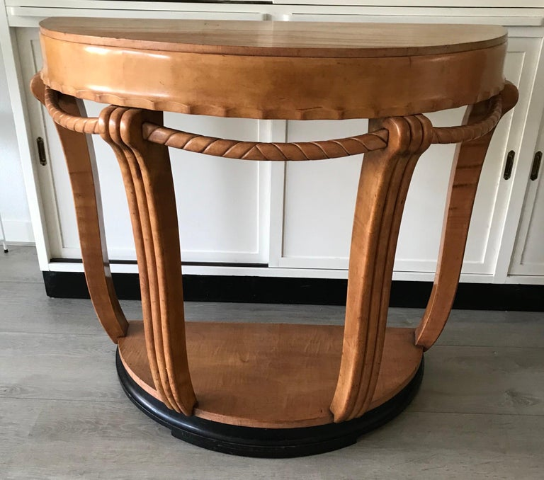 Large & Stylish Semi Circular Art Deco Wall or Side Table of Stained Beechwood For Sale 6