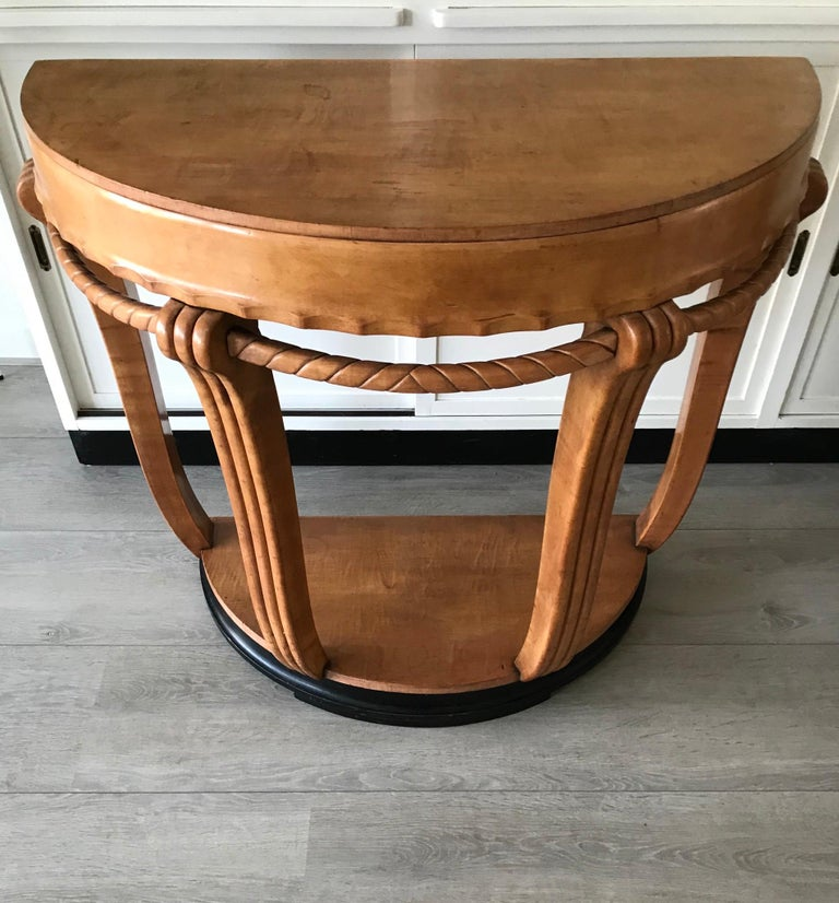 Large & Stylish Semi Circular Art Deco Wall or Side Table of Stained Beechwood For Sale 7