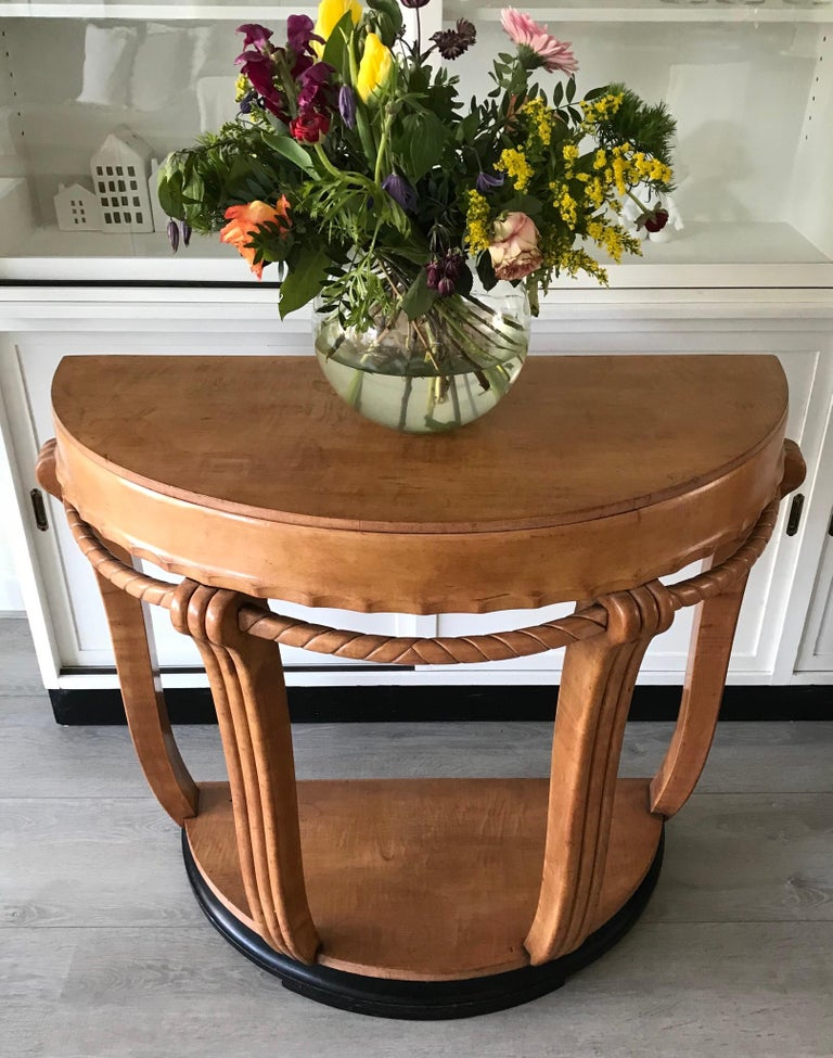 Large & Stylish Semi Circular Art Deco Wall or Side Table of Stained Beechwood For Sale 8