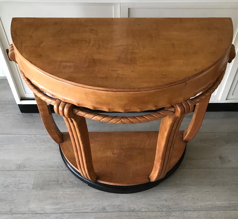Large & Stylish Semi Circular Art Deco Wall or Side Table of Stained Beechwood For Sale 9