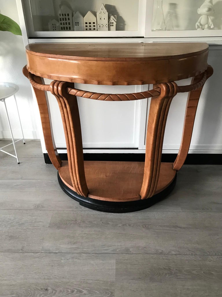 Large & Stylish Semi Circular Art Deco Wall or Side Table of Stained Beechwood For Sale 10