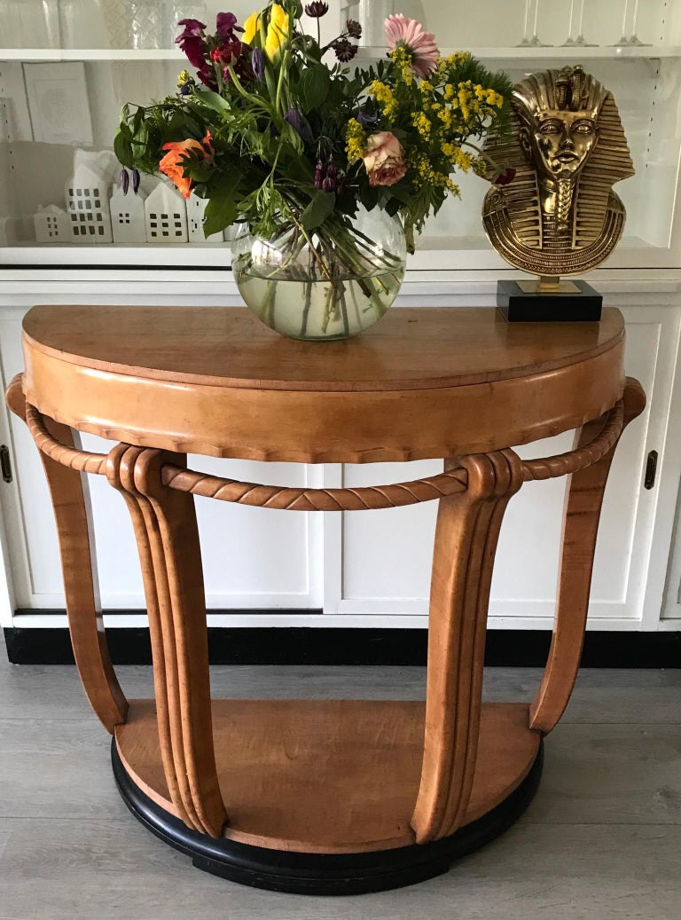 Large & Stylish Semi Circular Art Deco Wall or Side Table of Stained Beechwood For Sale 11