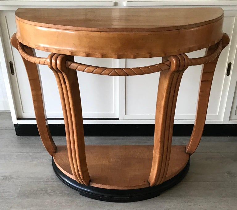 Beautiful shape and color Art Deco console / sidetable.  If you are looking for a sizeable and impressive sidetable to grace your entrance or an other living space then this Fine and rare example from the early 20th century could be perfect for you.