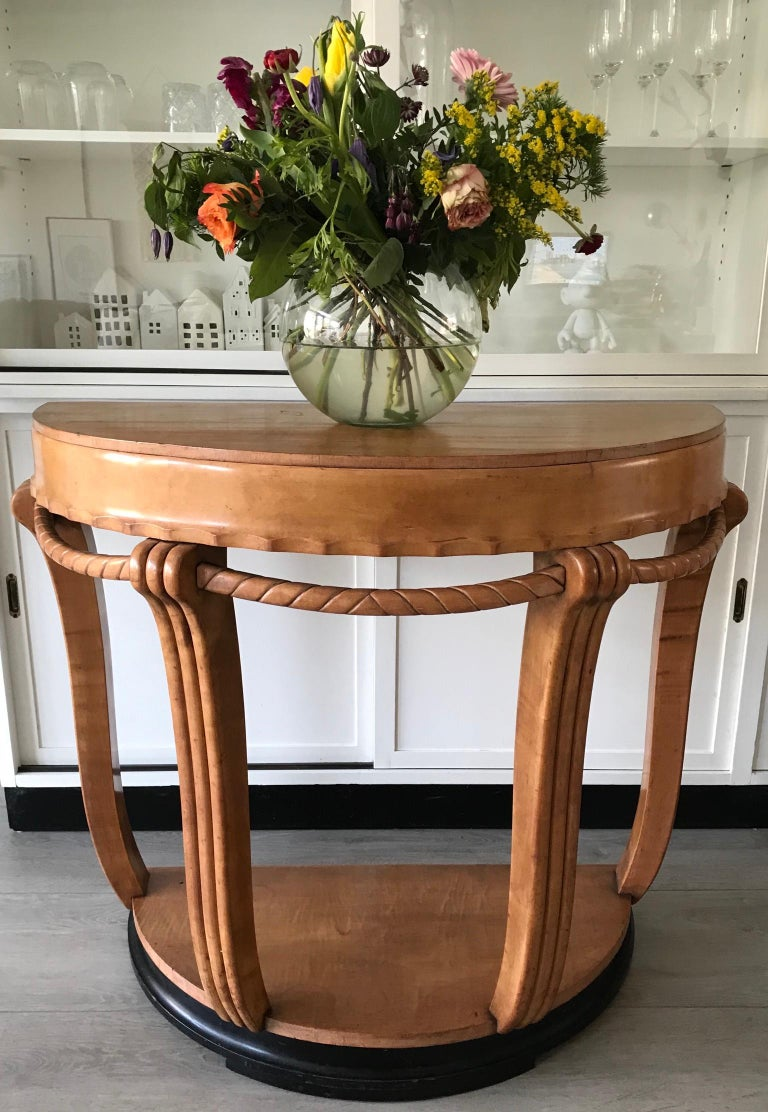 Hand-Crafted Large & Stylish Semi Circular Art Deco Wall or Side Table of Stained Beechwood For Sale