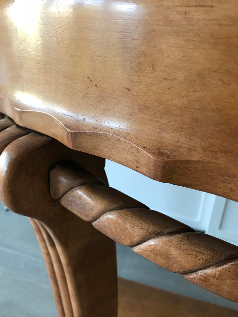 20th Century Large & Stylish Semi Circular Art Deco Wall or Side Table of Stained Beechwood For Sale