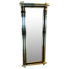 Large And Tall Italian Made Mid-Century Brass Floor Mirror