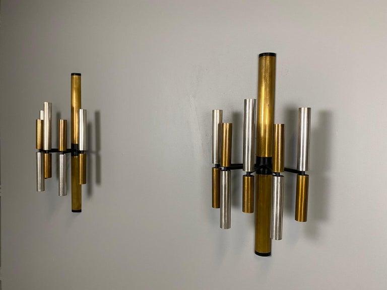 Italian Large and Ten Lights Six Stilnovo Sconces For Sale
