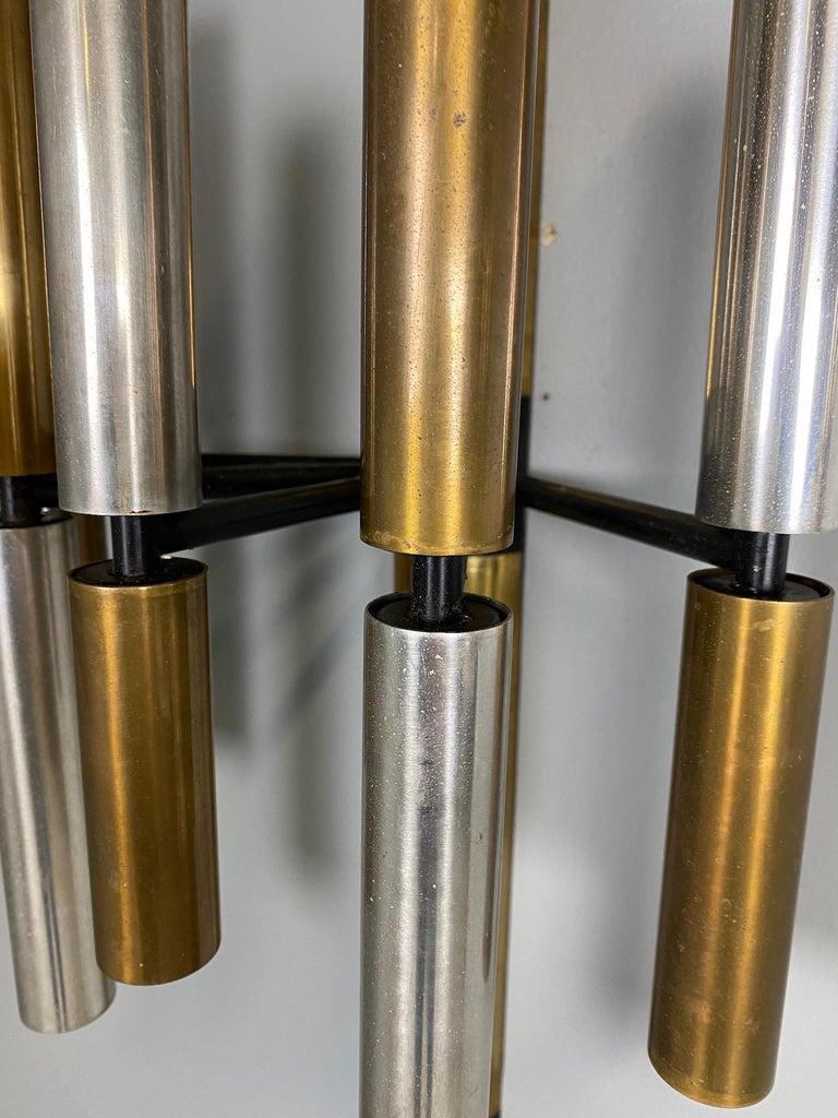 Aluminum Large and Ten Lights Six Stilnovo Sconces For Sale
