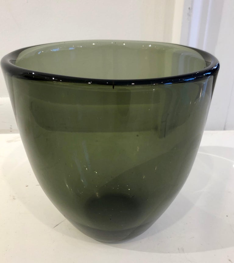 Orrefors expo vases were all unique examples created expressly for expositions and competition, by Orrefors top artists. This example, while simple in form and color, is exceptional due to its size and thick walls. Diamond etch signature to bottom