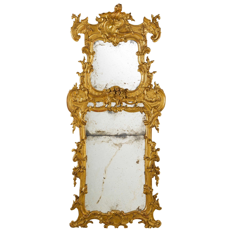 Large and Unusal 18th Century Italian Baroque Pier Mirror