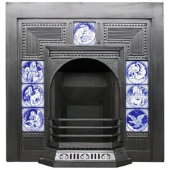Large and Unusual 19th Century Victorian Cast Iron and Tiled Fireplace Grate