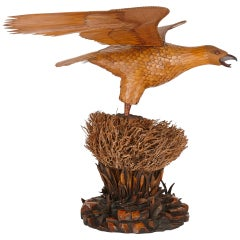 Large and Unusual Chinese Bamboo and Wood Eagle Sculpture