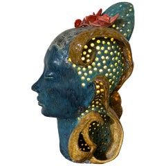 Large and Unusual Studio Pottery Lamp/Sculpture, Women's Head, Exotic