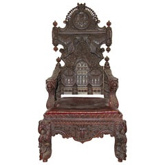 Large and Very Decorative Antique Throne Armchair, 19th Century Solid Wood