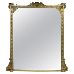 Large and Well Proportioned Victorian 19th Century Giltwood Overmantle Mirror