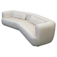 Large Angled Midcentury Regency Style Sofa