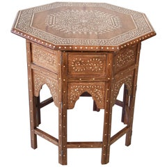 Large Anglo-Indian Octagonal Moorish Table with Inlay