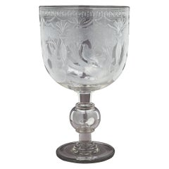 Large Anglo-Irish Engraved Glass Goblet-Centerpiece