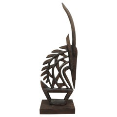 Large Antelope Chi Wara Head-Crest African Wood Carved Sculpture