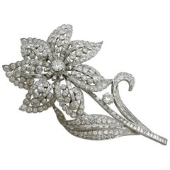 Large Antique 13.81 Carat Diamond and Platinum Flower Brooch