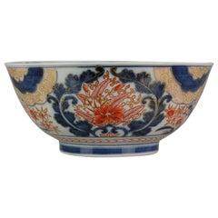 Large Antique Japanese Edo Porcelain Imari Arita Bowl Flowers, Japan