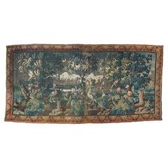 Large Antique 17th Century Flemish Verdure Landscape Tapestry with Birds