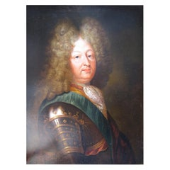 Large Antique 17th Century Louis XIV in Armour Portrait in Oil, Louis XV Frame