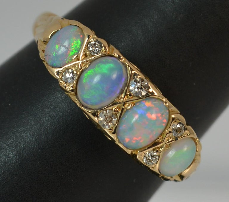 Large Antique 18 Carat Gold Opal And Diamond Stack Band