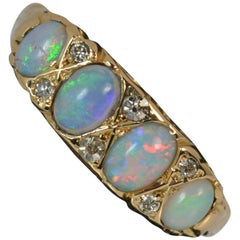 Large Antique 18 Carat Gold Opal and Diamond Stack Band Ring