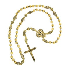 Large Antique 18K Gold Seed Pearl Etched Bead Enamel Rosary Cross Chain Necklace