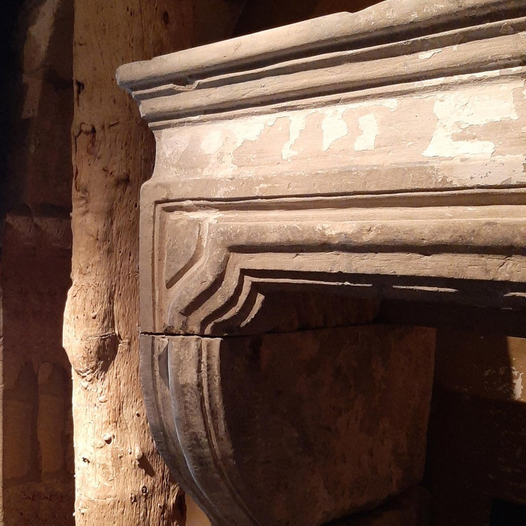 Large Antique 18th Century French Baroque Limestone Fireplace For Sale 1