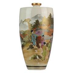 Large Antique 19-20th C Japanese Satsuma Vase Japan Meiji Period Landscape