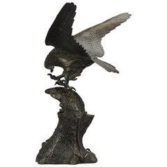Large Antique 19th Century Statue Bronze Japan Meiji Period Eagle on Rock