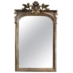 Large Antique 19th Century Classic French Silver Gilded Mirror